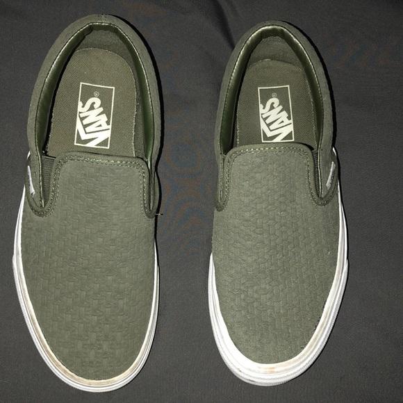 Vans Shoes | Army Green Slip On Vans